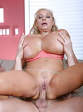Sultry babe Echo Valley using enormous boobies to seduce handsome fellows