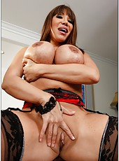 Goodly mature Ava Devine showing awesome boobies and fingering on camera