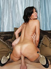 Smiley babe Veronica Avluv posing in awesome stockings and works with a big cock