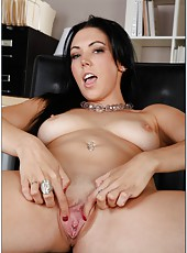 Arresting black haired babe with big tits Megan Foxx fucked by a big cock