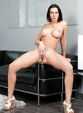 Big cock for astounding brunette milf Rachel Starr and her pierced nipples