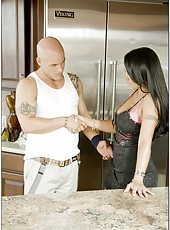 Brunette with exciting face Mariah Milano strips and has sweet time at the kitchen
