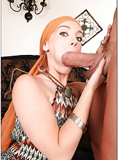 Exquisite redhead Dani Jensen sucking a meaty sausage and being humped