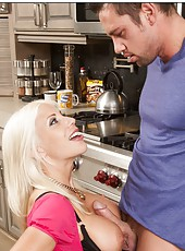 Giggly blonde Puma Swede banging with her boyfriend in the kitchen