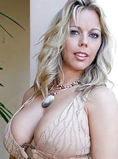 Fascinating hooker Amber Lynn Bach demonstrates big tits and masturbates