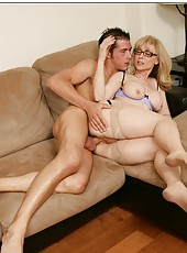 Posh mature Nina Hartley enjoys swallowing and riding big yummy cocks