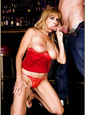 Remarkable whore Nicole Moore fucking with her friend right in the bar
