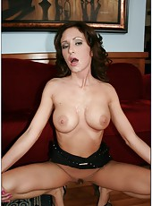 Wavy-haired brunette milf Hillary Scott got a big cock in every hole