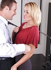 Skinny blonde Jamey Janes demosntrates a hardcore fuck in the office