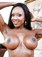 Demonic whore Diamond Jackson showing big tits and fingering hard