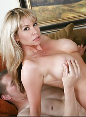 Bright babe Bridgette Monroe getting a facial cumshot after riding a big cock