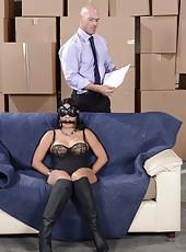 Naughty milf Jasmine Caro caught and fucked by big powerful dick