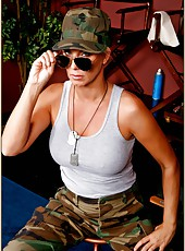 Military milf T.J. Hart shows her worth on the battlefield with her boobs