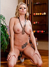Spoiled babe Briana Banks getting naked and fingering tight vagina