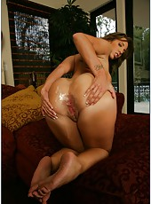 Naughty babe with big ass and hot tits Kelly Divine fucked between her butt