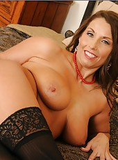 Winsome hooker Stacie Starr spreading nice pussy and licking fingers