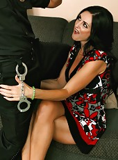 Naughty brunette Lake Russell is being owned by a police officers cock