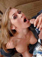 Magnificent blonde Simone Riley is doing a hot blowjob and fucking hard