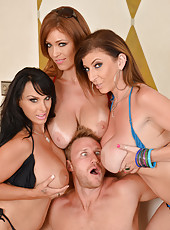 Hot cougar Charlee Chase is having a lot of fun with a dick and 2 girls