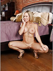 Perfect wife Brandi Love showing a hot striptease and fingering sissy