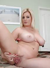 Busty blonde milf Kala Prettyman showing her big tits and masturbating