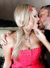 Busty blonde milf Katie Kox rubs her wet pussy and fucks like a slut