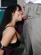 Long-haired brunette milf Mason Storm with greats big tits and delicious nipples