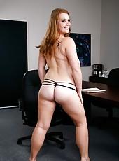 Pale-skinned and giant titted milf Sierra Skye enjoys hardcore office fuck