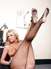 Big titted milf in sexy pantyhose Madison James sucks and rides this cock like a cougar