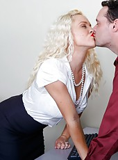 Horny office lady Krissy Lynn looks like a dirty bitch and fucks suitably