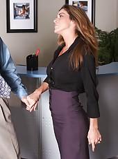 Asian sweetie Asa Akira and her hot girlfriend Kayla Paige seduce office man