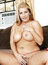 Naive blonde Joclyn Stone demonstrating tasty forms and playing with hairy sissy