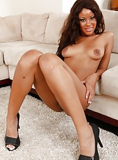 Exquisite ebony Rihanna Rimes showing her exotic black body and boobs