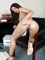 Ann Marie Rios strips and lets this man to check out the tightness of her pussy