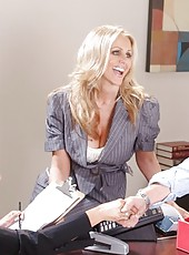 Beautiful and luxury woman Julia Ann meets a big black cock in her white gentle pussy