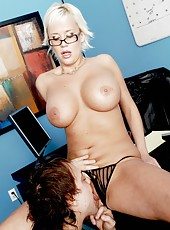 Short-haired blonde with massive hooters Carly Parker in the voluptuous action
