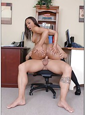 Exquisite Ebony secretary Roxy Reynolds fucks her white boss every day