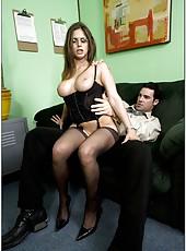 Winsome brunette Rachel Roxxx is a perfect secretary for horny boss