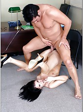 Black haired office milf with tiny tits and slender body named Jennifer Dark
