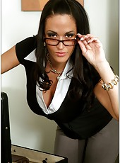Fascinating babe in glasses named Carmella Bing surprises with big tits and hungry pussy
