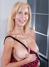Chic pornstar Erica Lauren showing amazing tits and playing with hairy snatch