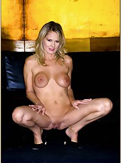 Appealing peach Bridgett Lee prefers to pose naked and shows big tits