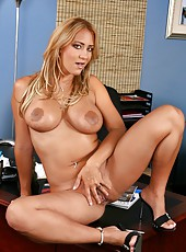 Exciting and really busty blonde Trina Michaels sucks, fucks and then gets facialized