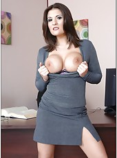 Buxom business woman Austin Kincaid has fun with big dicked man