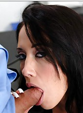 Slender brunette Kimberley Kole demonstrates her hot big tits and tight hole in the action