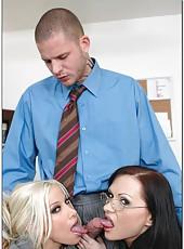 Two mesmerizing office ladies Katja Kassin and Gina Lynn seduce their colleague