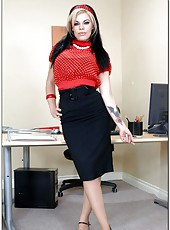 Gia Paloma is a sweet office babe with beautiful pale skin, big boobs and hot temperament