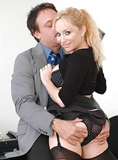 Engaging blonde milf Aiden Starr seduces married co-worker with her big tits