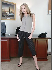 Skinny milf Taylan Kiss takes off her official clothes for an unofficial action