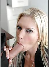 Astounding model-quality bombshell Brooke Banner makes love on her worktable
